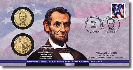 Abraham Lincoln Presidential Dollar Coin Cover