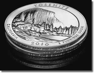 2010 America the Beautiful Silver Bullion Coins - Edge View