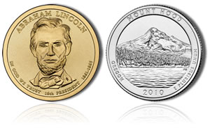 Lincoln Dollar and Mount Hood Quarter