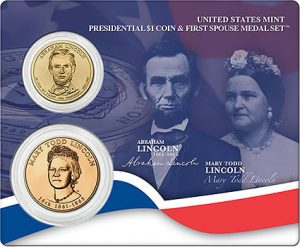 Lincoln Presidential $1 Coin & First Spouse Medal Set