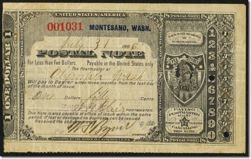 Montesano, Washington Territory- Postal Note Type II $1.50