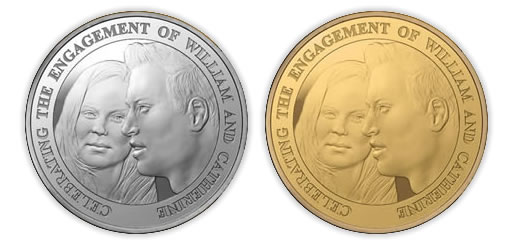 Prince William and Kate Middleton Royal Engagement Coin (£5 Silver Proof Crown and £5 Gold Proof Crown)
