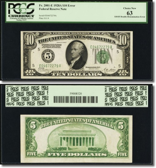 Richmond $10-$5 1928A Double Denomination