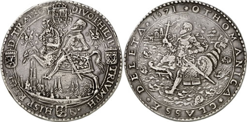 Spanish 1571 silver medal