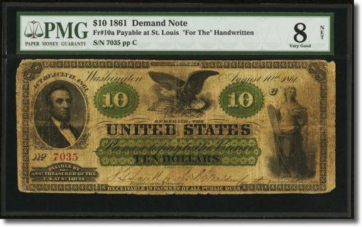 $10 1861 Demand Note
