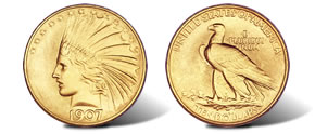 1907 Rolled Edge Eagle coin