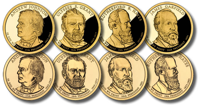 4 GOLDEN ONE-DOLLAR COINS NO BOX OR COA 2015-S  PRESIDENTIAL PROOF SET FOUR