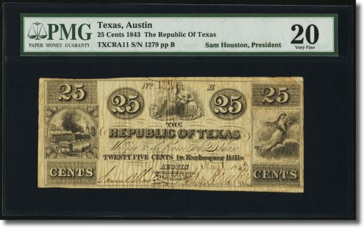 25¢ Republic of Texas Exchequer Note