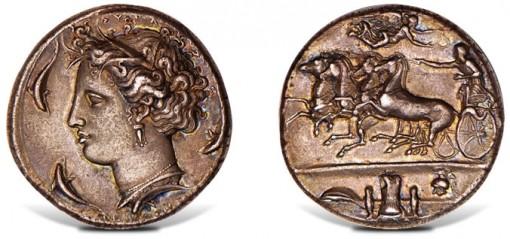 405-367 B.C. Sicily AR Decadrachm