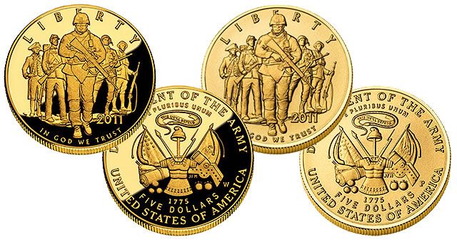 2011 U S Army Commemorative Coins In Gold Silver And