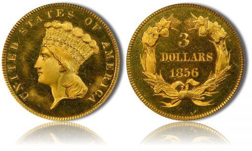 1856 $3 PCGS PR65 Cameo