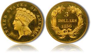 1856 $3 Gold PCGS PR65