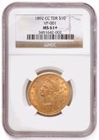 1892-CC $10 gold eagle coin