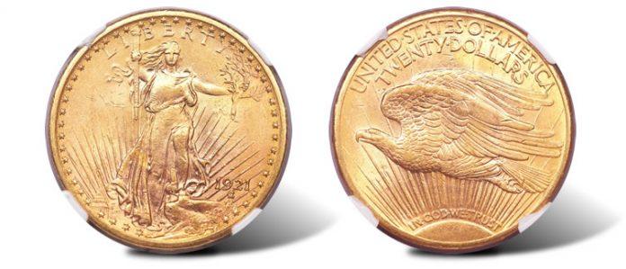 1921 Saint-Gaudens $20 MS62 NGC