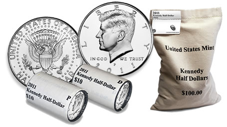 2011 Kennedy Half Dollar, Two-Roll Set, and Bag