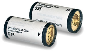 Andrew Johnson Presidential $25 Dollar Rolls