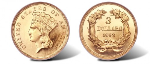 1863 Three Dollar Gold