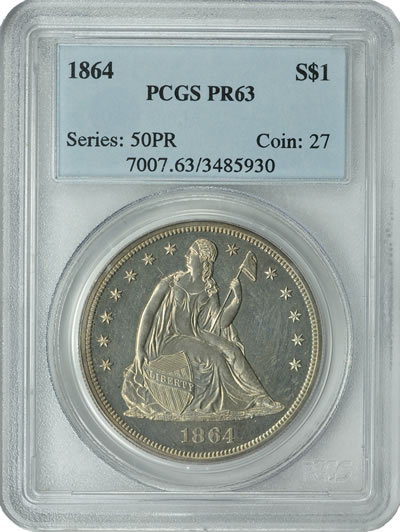 1864 Seated Silver Dollar