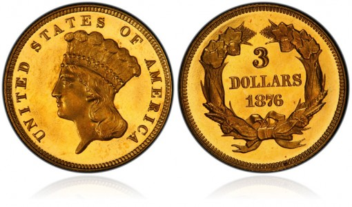 1876 $3 gold coin