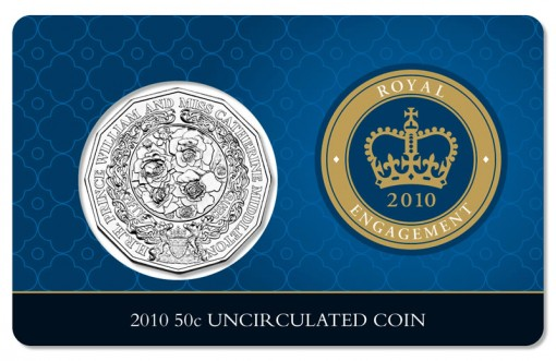 2010 50c Uncirculated Royal Engagement Coin Card