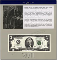 2011 $2 Single Banknote