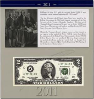 2011 $2 Single Note