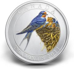 2011 25-Cent Barn Swallow Coloured Coin