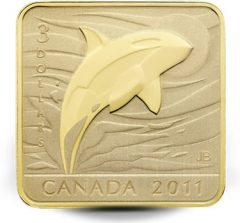 2011 $3 Orca Whale Silver Gold Plated Coin