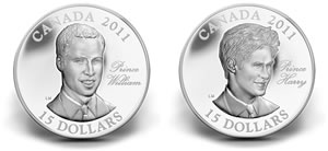 2011 Prince William and Prince Harry silver coins