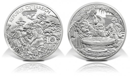 Austria 2010 10€ Charlemagne In Untersberg Silver Coin