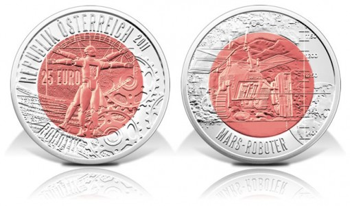 Austrian Robotics Silver and Niobium Bimetallic Coin