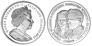 Falkland Islands 2011 Royal Wedding Coin