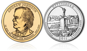 Johnson Dollar and Gettysburg Quarter
