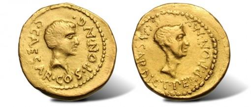 Octavian and Julius Caesar Ancient Gold Aurei Coin