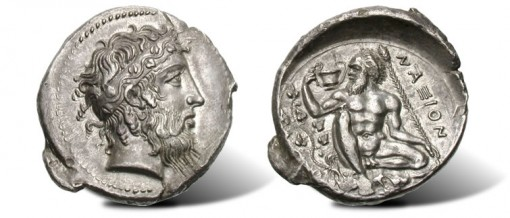 Silver Tetradrachm of Naxos in Sicily Ancient Coin