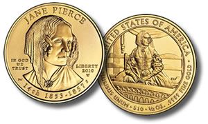 Uncirculated Jane Pierce First Spouse Gold Coin