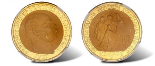 1907 Hungarian Franz Joseph II gold 100 Korona