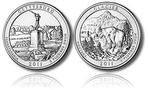 2011 Gettysburg and Glacier Coins