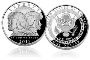 2011 US Army Commemorative Silver Dollar Coin