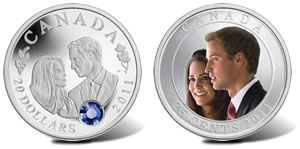 Canadian $20 Silver and 25-Cent Nickel Plated Steel Royal Wedding Coins