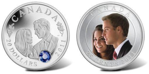 Canadian $20 Silver and 25-Cent Steel Royal Wedding Coins