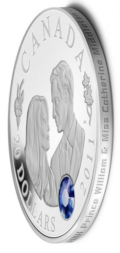 Edge of Canadian $20 Silver Royal Wedding Coin