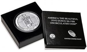 Hot Springs National Park 5 Oz Silver Uncirculated Coin in Packaging