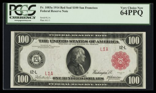 $100 1914 San Francisco Serial Number One Red Seal