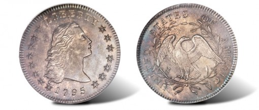 1795 Flowing Hair, Two Leaves dollar
