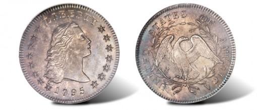 1795 Flowing Hair, Two Leaves dollar