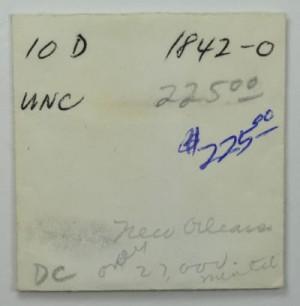 1842-O $10 Gold Eagle original envelope