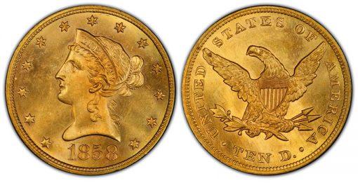 1858 $10 Liberty Head