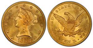 1858 $10 Liberty Head Gold