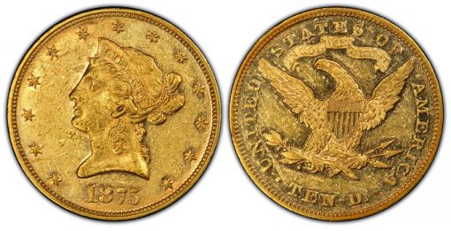 1875 $10 Liberty Head Gold